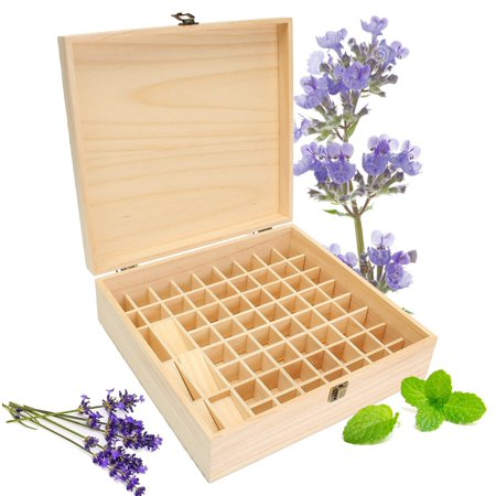 Small Wood Boxes (59 Slots Essential Oils Storage Wooden Box Pine Aromatherapy Wood Display)