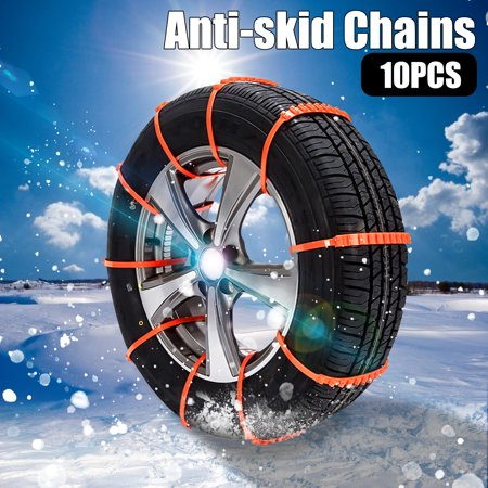 10PCS Car Truck Anti-Skid Snow Tire Chains Adjustable Car Chains Emergency Chains for Most Car//SUV/Truck of Width