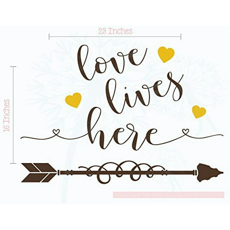Love Lives Here Wall Quotes Vinyl Decals Romantic Room Art, 23x16-Inch Chocolate Brown, Mustard](Halloween Romantic Quotes)