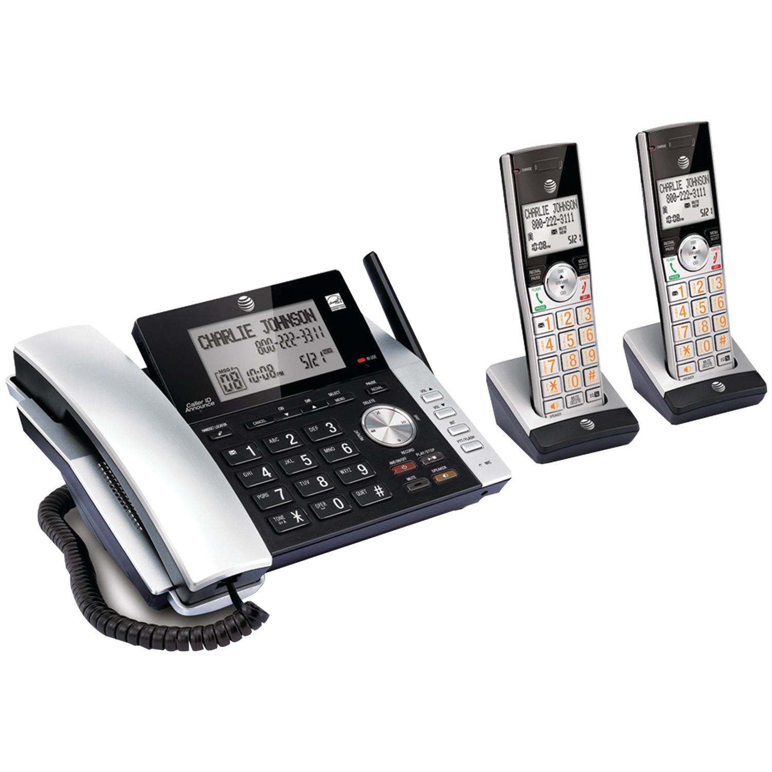 AT&T ATTCL84215 3-Handset Corded/Cordless Answering System