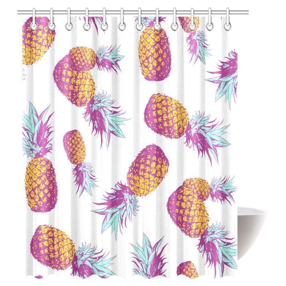 BPBOP Pineapple Decor Shower Curtain, Tropical Theme