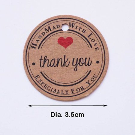 Akoada 100 Pcs 3.5cm Round Kraft Paper Thank You Gift Tags  for Christmas Gift Wrap Tags, Baby Shower Gift Tags,wedding Favor Tags, Holiday Gift Tags Akoada 100 Pcs 3.5cm Round Kraft Paper Thank You Gift Tags  for Christmas Gift Wrap Tags, Baby Shower Gift Tags,wedding Favor Tags, Holiday Gift Tags
