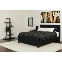 BSD National Supplies Elmira Full Size Black Fabric Platform Bed with Button Tufted Headboard