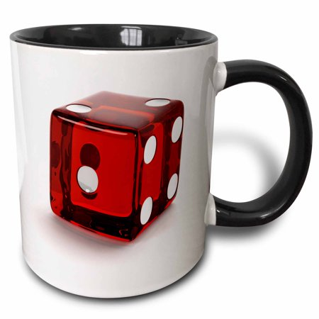 3dRose Red semi transparent casino die on white background - Two Tone Black Mug, 11-ounce