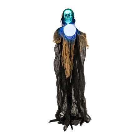 Halloween Decorations Animated Props (Halloween Haunter Animated 6ft Sonic Skull Reaper LED Magic Ball Prop)