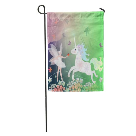 LADDKE Summer Magic Forest Trees Flowers and Butterflies Where Live Fairy Garden Flag Decorative Flag House Banner 12x18 inch (Butterflies And Fairies)
