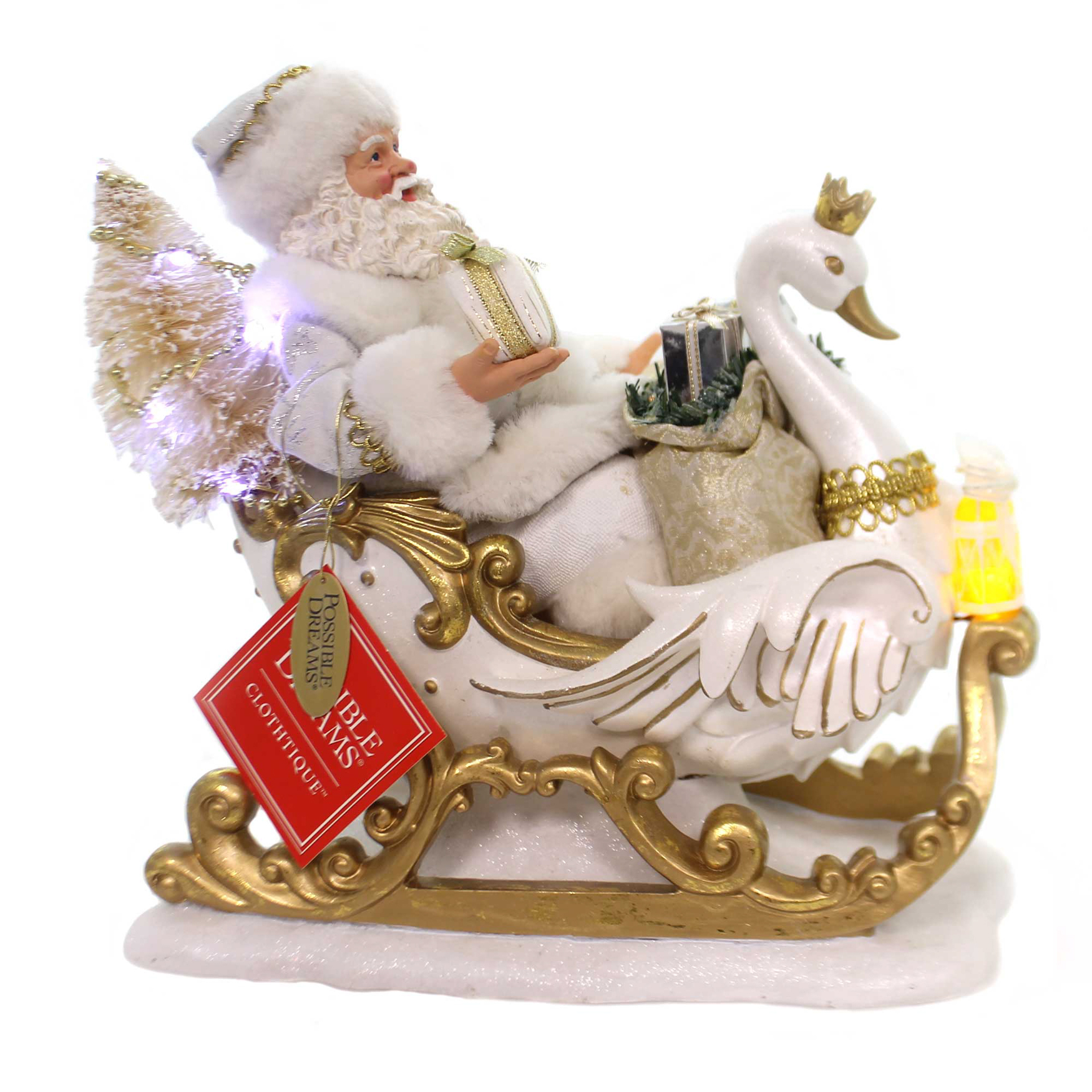 Possible Dreams WHITE CHRISTMAS LIMITED EDITION Santa Claus Sleigh Swan 6000714