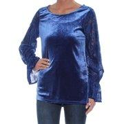 KENSIE Womens Blue Lace-sleeve Velvet Long Sleeve Jewel Neck Tunic Sweater  Size: XS