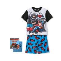 Batman vs. Superman Boys' 2 piece Pajama Set, with 200+ Stickers, Batman vs. Superman, Size: 10/12