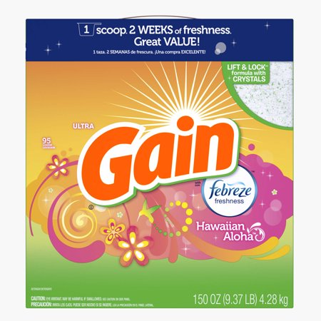 Gain Powder Laundry Detergent With Febreze Freshness  Hawaiian Aloha Scent  95 Loads  150 Oz