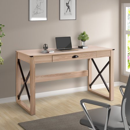 Grand Style Desk (ModernLuxe Writing Table Modern Style Wood Desk with Drawer, Multiple Colors )