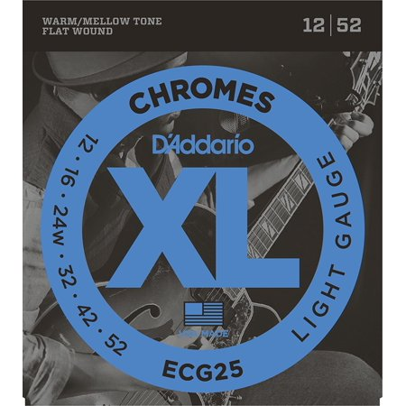 ECG25 Chromes Flat Wound Electric Guitar Strings, Light, 12-52, Popular flatwounds with smooth feel, warm/mellow tone and tighter tension By D'Addario