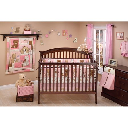 Pink And Brown Baby Bedding - Little Bedding by NoJo Dreamland Teddy 10 Piece Crib Bedding Set