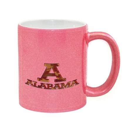 KuzmarK Pink Sparkle Coffee Cup Mug 11 Ounce - Alabama Red Camouflage