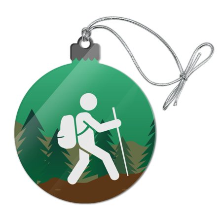 Mountain Acrylic (Hiker Hiking Symbol Mountain Nature Acrylic Christmas Tree Holiday Ornament)