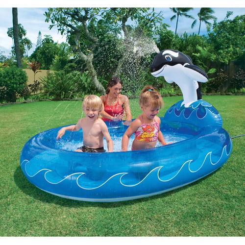 Intex 6.7' x 5.2' Spray 'N Splash Whale Kiddie Swimming Pool
