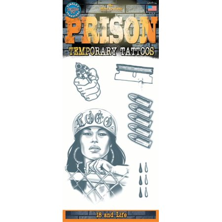 Tinsley Transfers Prison 18 And Life 14pc Temporary Tattoo FX Costume Kit](Costume Tattoo)