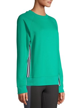 Avia Women's Athleisure Tape Side Pullover Crewneck Sweatshirt