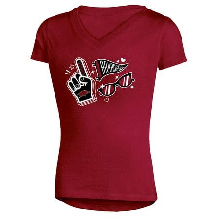 Arkansas Girl - Girls Youth Russell Cardinal Arkansas Razorbacks Tunic V-Neck T-Shirt