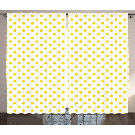 Yellow Decor Curtains 2 Panels Set Picnic Like Cute 50s 60s 70s