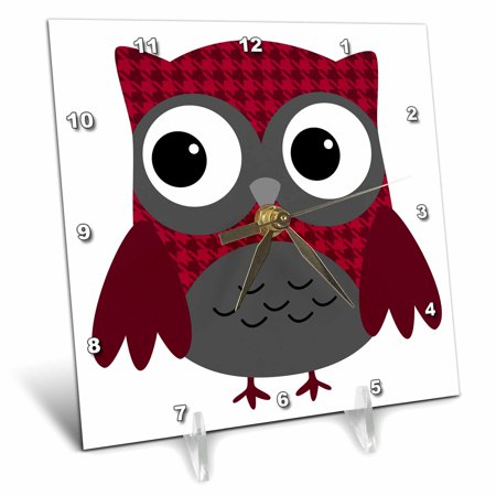 3dRose Cute Ruby Red Houndstooth Patterned Owl, Desk Clock, 6 by 6-inch