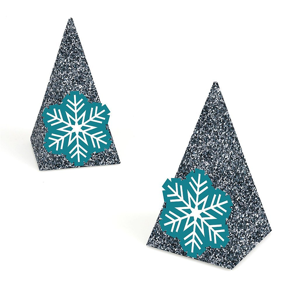 Frozen Flakes - Winter Wedding Pyramid Shaped Favor Boxes - Set of 12