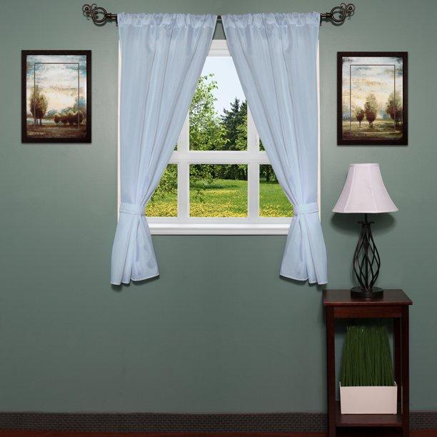 Classic Hotel Quality 36 W X 54 L Fabric Bathroom Window Curtain Set W Tiebacks Walmart Com Walmart Com