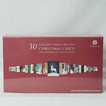 Burgoyne 30 Elegant Hand Crafted Christmas Cards with Matching Self-Seal Envelope ()