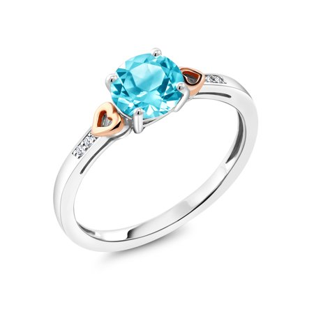 - 925 Sterling Silver and 10K Rose Gold Ring Swiss Blue Topaz with Diamond Accent