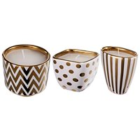 Navya Bling Candles, Set of Three-Color:Gold,Style:Modern Chic