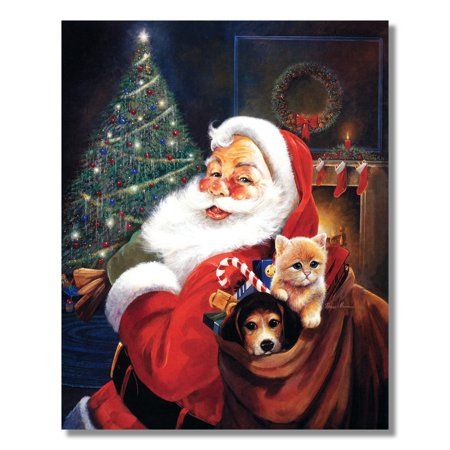 Santa Clause St Nick Christmas Toy Bag Dog and Cat Wall Picture 8x10 Art Print Big Cat Art