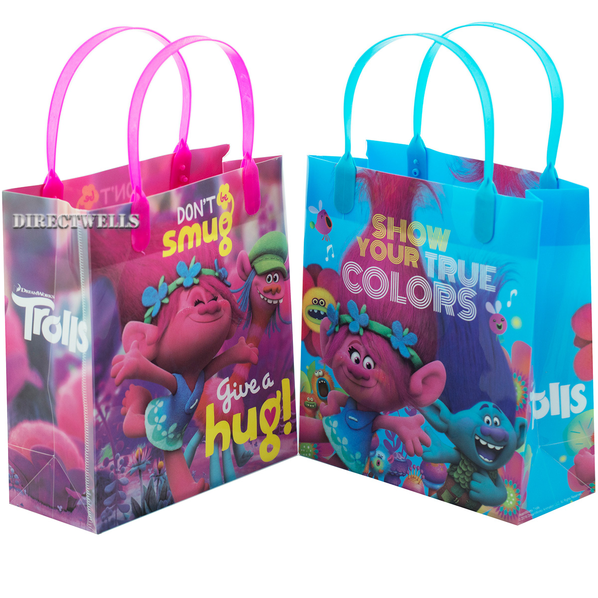 Trolls Authentic Licensed 12 Party Favor Reusable Goodie Medium Gift Bags 8""