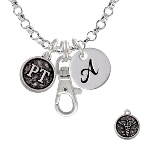 Physical Therapist Caduceus Seal - PT - A - Initial Badge Clip Necklace
