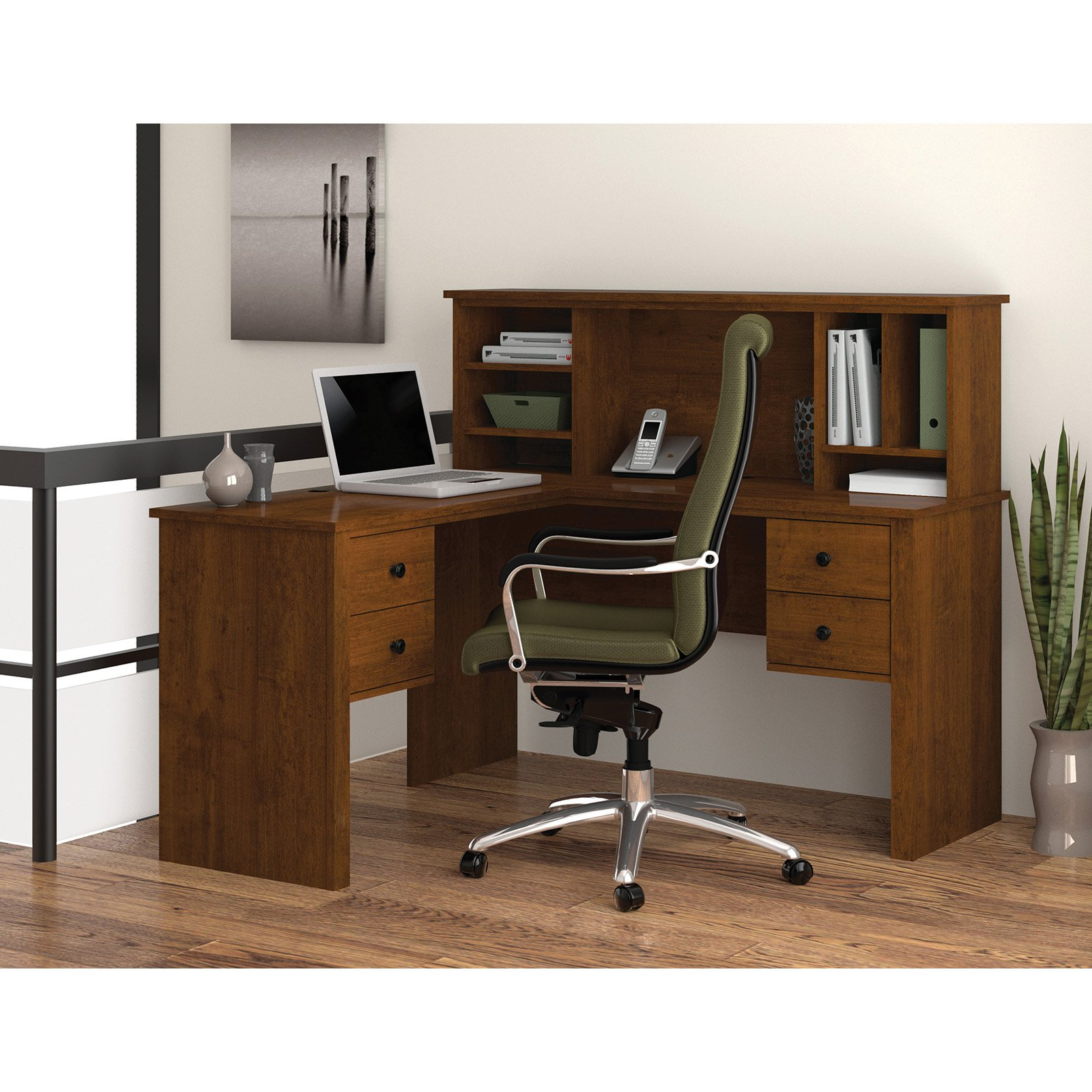 Bestar 45850-63 Somerville L-Shaped Desk with Hutch Tuscany Brown by Bestar