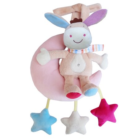 Baby Wind-up Musical Stuffed Animal Stroller Crib Hanging Bell with Music Box Plush Toy Gift for Infant Specification:The moon, the donkey, the