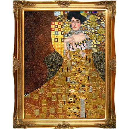 La Pastiche 'Portrait of Adele Bloch-Bauer I, 1907 Metallic Embellished' by Gustav Klimt Framed Painting Print