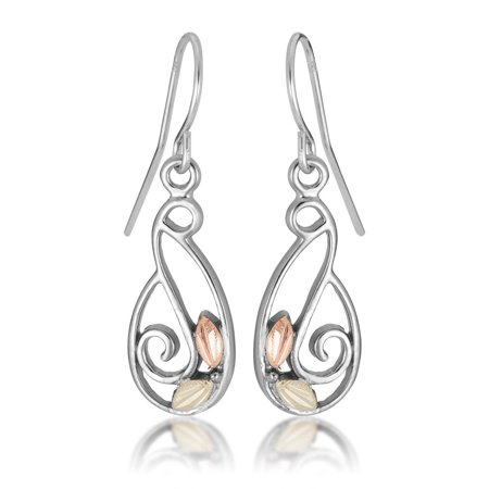 Landstroms Black Hills Gold on Silver Swirl earrings with 12K Gold (Silver Gold Swirl)