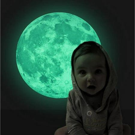 12 inch Moon Glow in the Dark Luminous Wall Stickers Moonlight Art Home Decor DIY Room