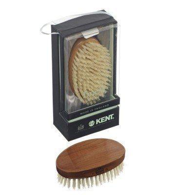 Kent MC4 Oval Cherrywood White Bristle Travel Hairbrush