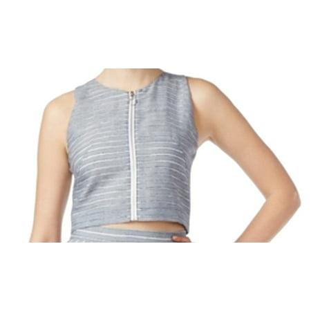 RACHEL ROY Womens Blue Zippered Striped Sleeveless Jewel Neck Crop Top  Size: 14