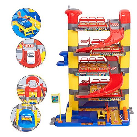 KARMAS PRODUCT Pretend Play Toy Super Garage Playset Includes 6 Cars for Children Toddlers](Play Cars For Toddlers)