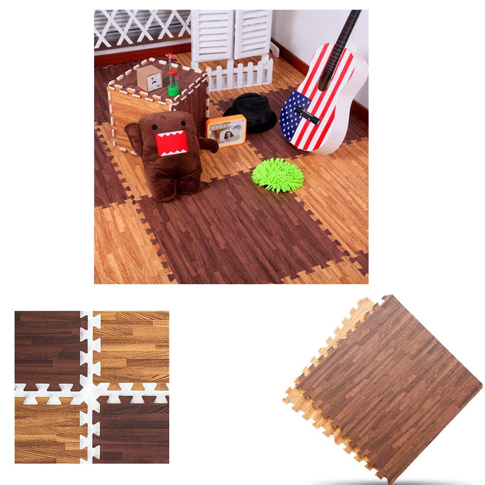 32 Sq Ft Dark Wood Interlocking Floor Mats EVA Foam Premium Gym Puzzle Mat Tile