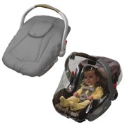 Jolly Jumper Arctic Sneak A Peek Infant Car Seat Cover with Car Seat Rain Cover, Grey