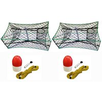 """KUFA Galvanized Foldable Crab Trap 1/4"""" X 100' Poly Rope with Clip On Line, 10 oz"""