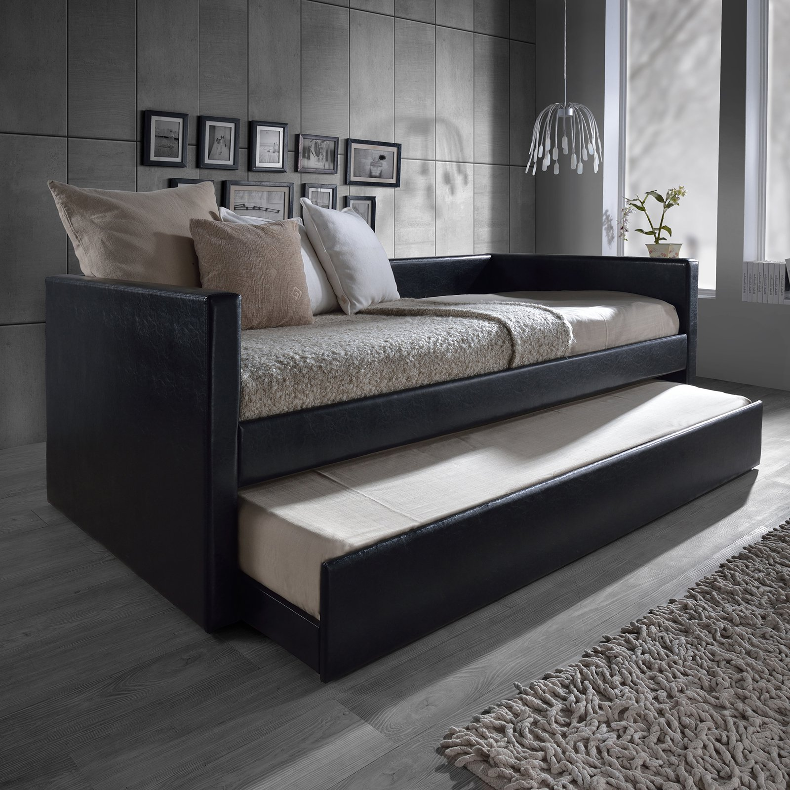 Risom Modern And Contemporary Faux Leather Upholstered Daybed Bed Frame With Trundle - Twin - Black - Baxton Studio