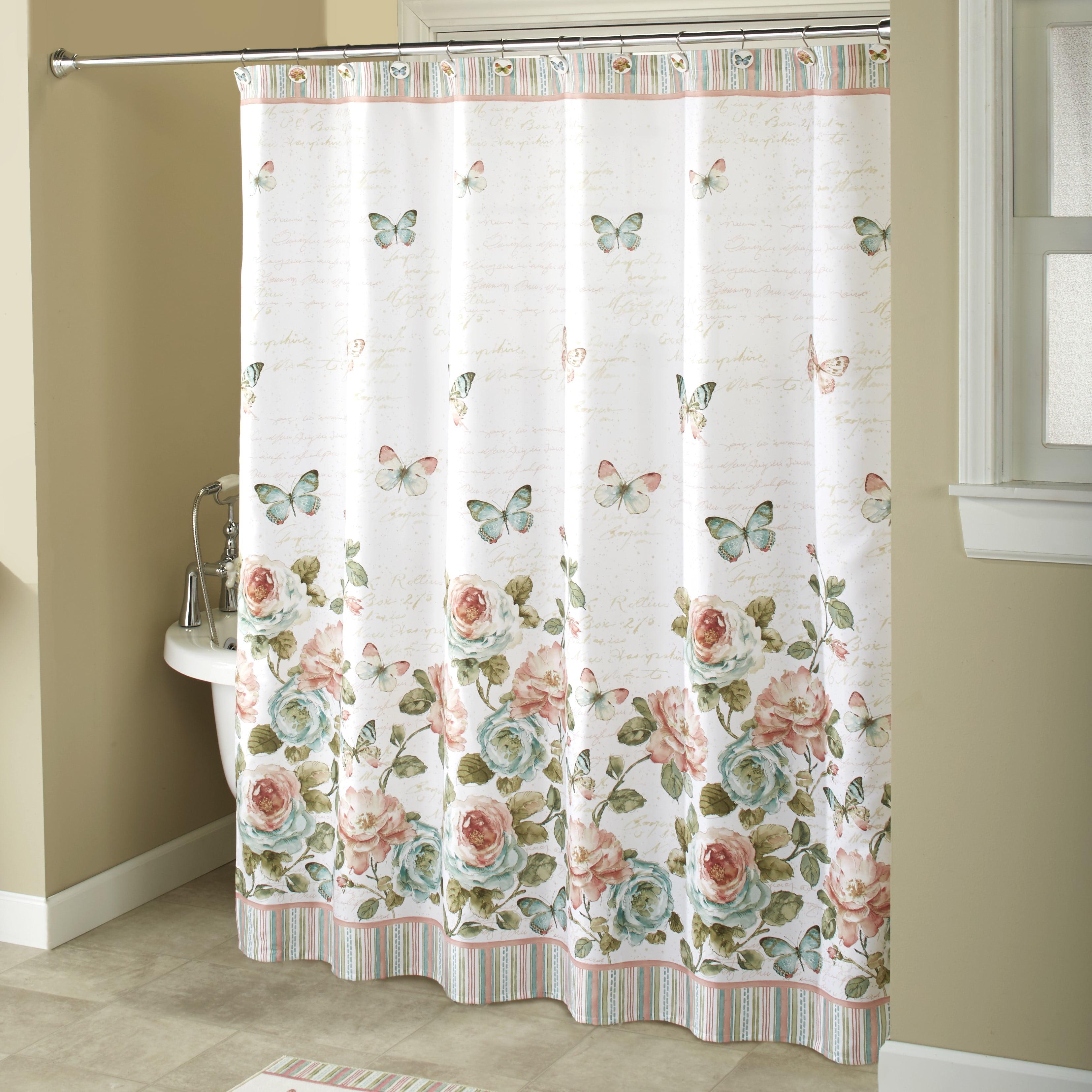 Rose Garden White Shower Curtain Farmhouse Floral Accent Walmart Com Walmart Com