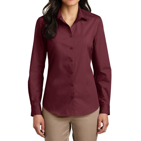 Mafoose Women's Long Sleeve Carefree Poplin Uniforms Dress Shirt Burgundy X-Small