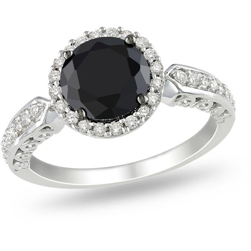 3-1/3 Carat T.G.W. Black and White CZ Sterling Silver Halo Engagement Ring