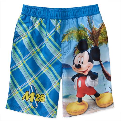 Disney Baby Boys' Mickey Plaid Swim Trunks