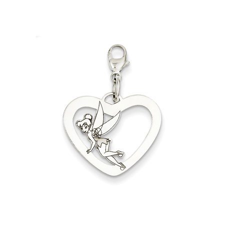 Tinkerbell Heart Charm - Disney Tinker Bell Heart Lobster Clasp Charm in 925 Sterling Silver 27x20mm